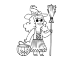 Disegno di Travestimento da strega di Halloween da colorare