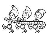 Disegno di Tre folletti di Natale da colorare