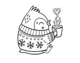 Disegno di Uccellino con un tè da colorare