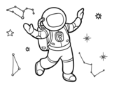 Disegno di Un astronauta nello spazio stellare da colorare