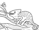 Disegno di Un camaleonte con la lingua fuori da colorare