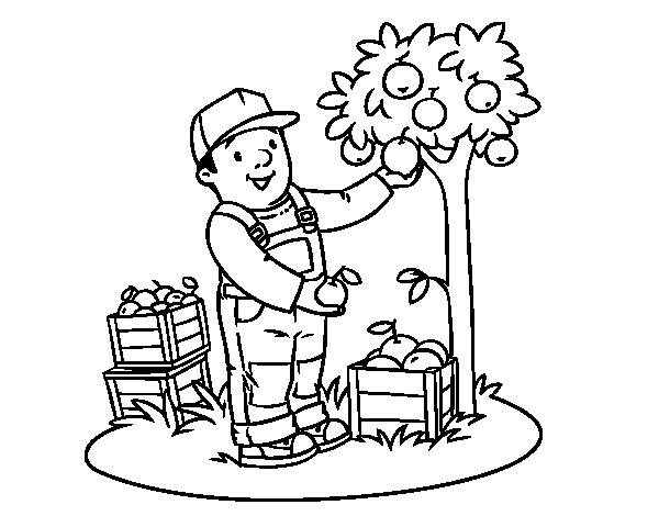 Disegno di un contadino da colorare for Disfare la valigia in inglese