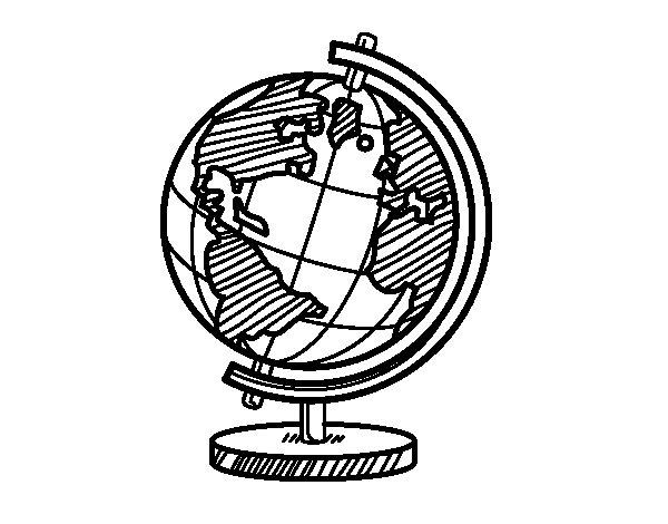 Disegno di Un globo del pianeta Terra da Colorare