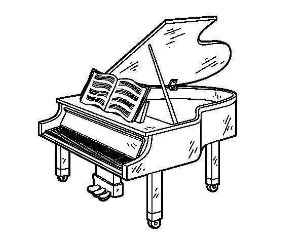Disegno di un pianoforte a coda aperto da colorare for Disegno di piano domestico