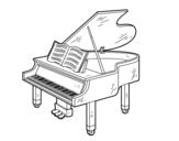 Disegno di Un pianoforte a coda aperto da colorare