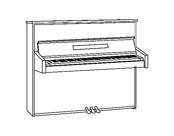 Disegno di Un pianoforte verticale da Colorare