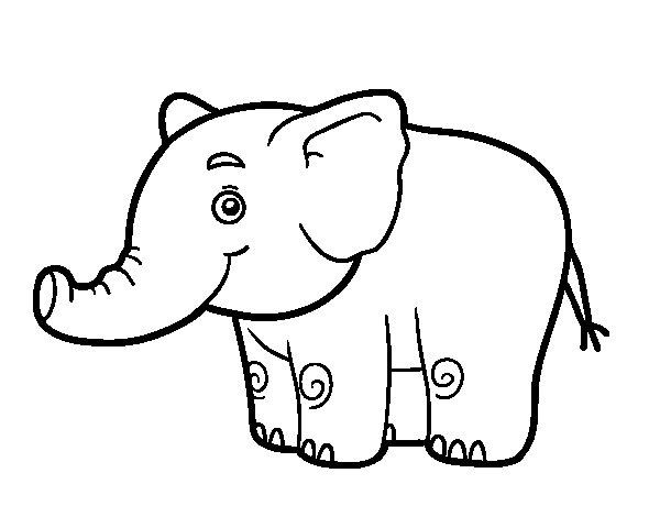 Disegno di Un piccolo elefante da Colorare