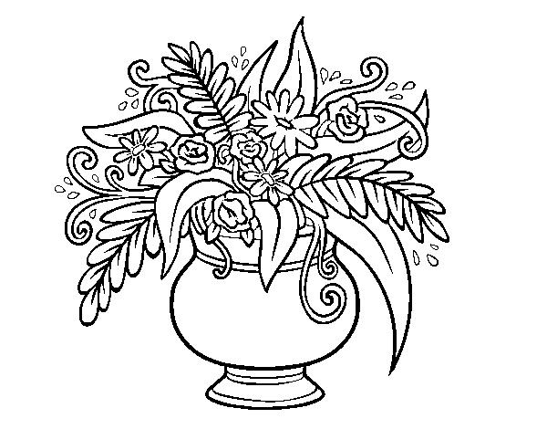 Disegno Di Rosa Con Foglie Da Colorare Acolore Com: Disegno Di Un Vaso Con Fiori Da Colorare