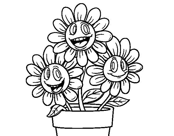 Disegno di un vaso di fiori da colorare for Fiori da disegnare facili