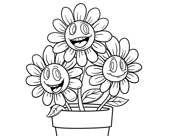 Disegno di un vaso di fiori da colorare for Vaso di fiori disegno