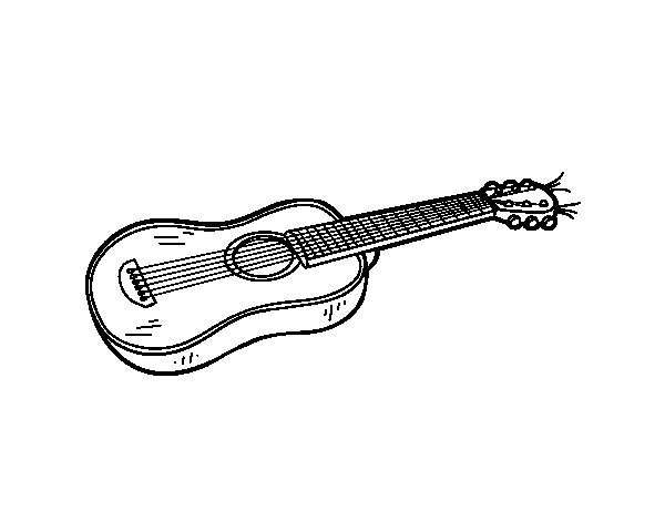 Disegno di Una chitarra acustica da Colorare