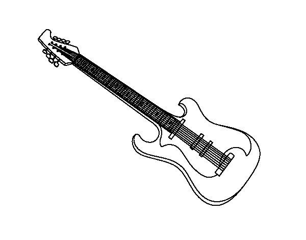 Disegno di Una chitarra elettrica da Colorare