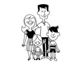 Disegno di Una famiglia felice da colorare