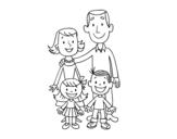 Disegno di Una famiglia da colorare