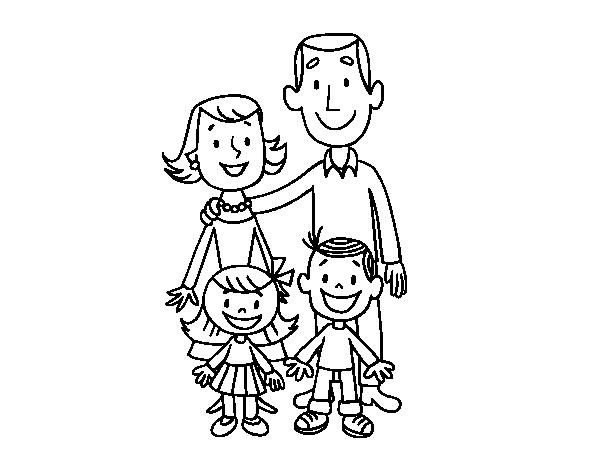 Disegno di una famiglia da colorare for Disfare la valigia in inglese