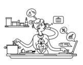 Disegno di Una madre multitasking da colorare
