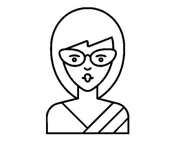 Disegno di Una menina con gli occhiali da Colorare
