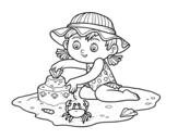 Disegno di Una ragazza che giocano sulla spiaggia da colorare