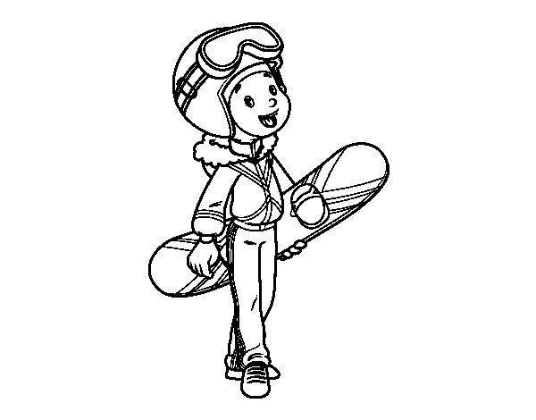 Disegno di Una ragazza Snowboard da Colorare