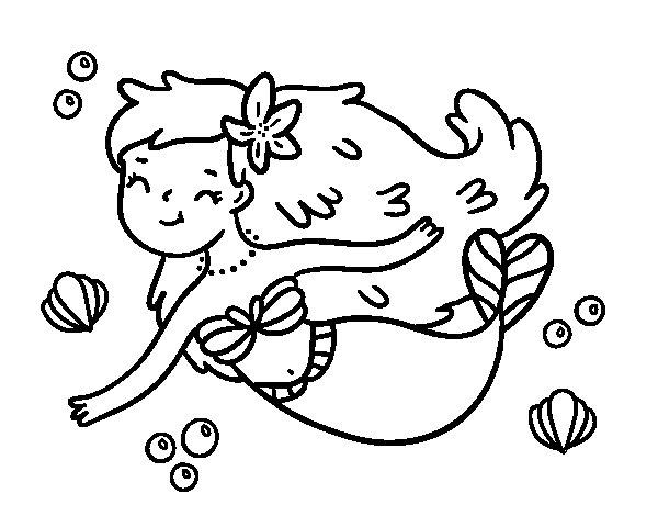 Disegno di Una sirena felice da Colorare