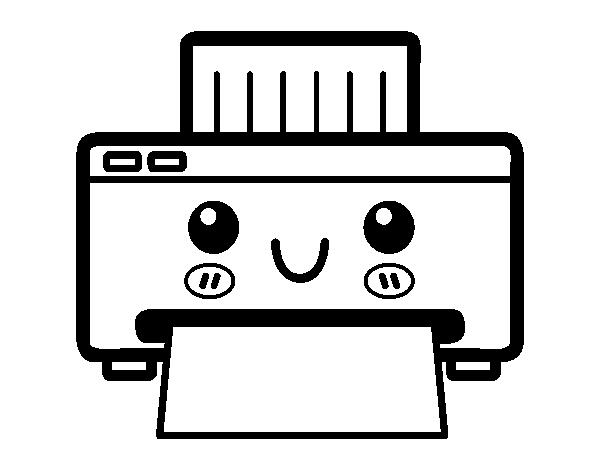 Disegno di una stampante da colorare for Disfare la valigia in inglese