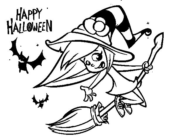 Disegno di una strega di halloween da colorare - Come disegnare immagini di halloween ...