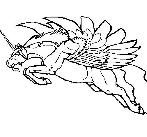 Disegno di unicorno alato da colorare - Unicorno alato pagine da colorare ...