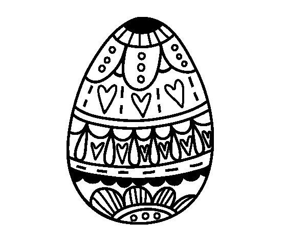 Disegno di  Uovo di Pasqua con il cuore da Colorare