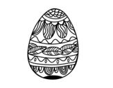 Disegno di Uovo di Pasqua con motivo vegetale da colorare