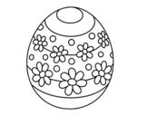 Disegno di Uovo di Pasqua di primavera da colorare