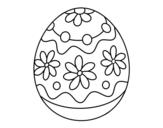 Disegno di Uovo di Pasqua fatto in casa con fiori da colorare