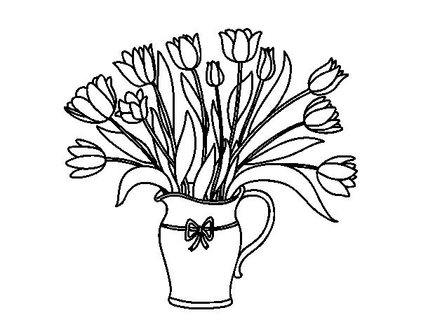 Disegno di vaso di tulipani da colorare for Disegno vaso da colorare