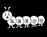 Disegno di Vermiciattolo con il vocali da colorare