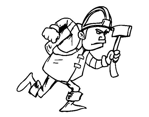 Disegno di Vigile del fuoco con ascia da Colorare