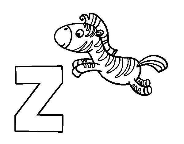 Disegno di Z di Zebra da Colorare