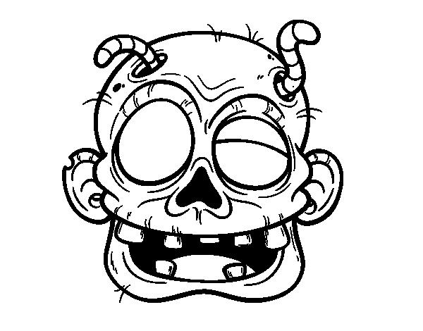Dibujo De Fantasma Tenebroso Para Colorear: Disegno Di Zombie Con Il Vermiciattoli Da Colorare