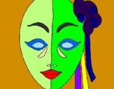 Disegno Maschera italiana  pitturato su Davide B.