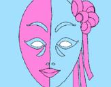 Disegno Maschera italiana  pitturato su denise 98