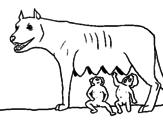 Disegno Romolo e Remo con la lupa pitturato su t