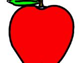 Disegno mela  pitturato su mela rossa