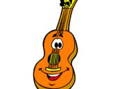 Disegno Chitarra classica  pitturato su chitarra classica