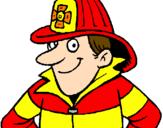Disegno Pompiere  pitturato su valerio