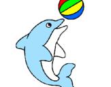 Disegno Delfino con una palla  pitturato su delfino 3
