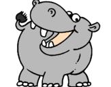 Disegno Ippopotamo  pitturato su hippo