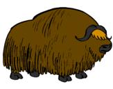 Disegno Bisonte  pitturato su bufalo
