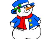 Disegno Pupazzo di neve II pitturato su silvestro
