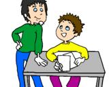 Disegno Compiti a casa  pitturato su darius
