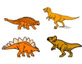 Disegno Dinosauri di terra  pitturato su marcello