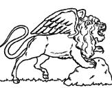 Disegno Leone alato  pitturato su giorgia