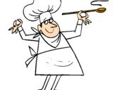 Disegno Cuoco II pitturato su cuoco